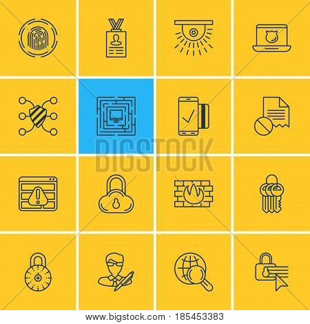 Vector Illustration Of 16 Data Protection Icons. Editable Pack Of Key Collection, Finger Identifier, Network Protection And Other Elements.