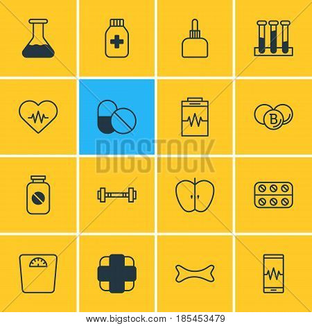 Vector Illustration Of 16 Health Icons. Editable Pack Of Aspirin, Fresh Fruit, Medicament Pitcher And Other Elements.