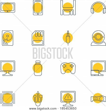 Vector Illustration Of 16 Computer Icons. Editable Pack Of Tablet With PC, Storage, Presentation And Other Elements.
