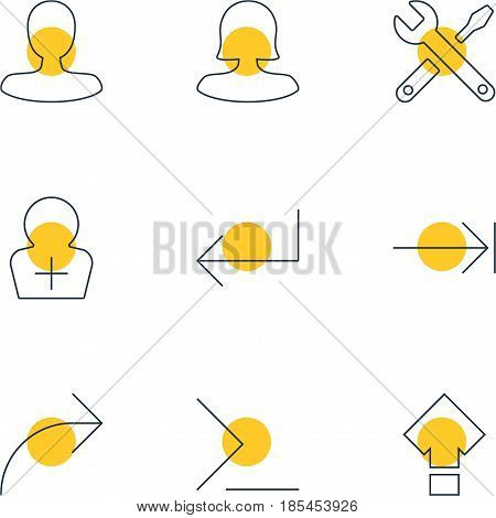 Vector Illustration Of 9 UI Icons. Editable Pack Of Tabulation Button, Accsess, Share And Other Elements.