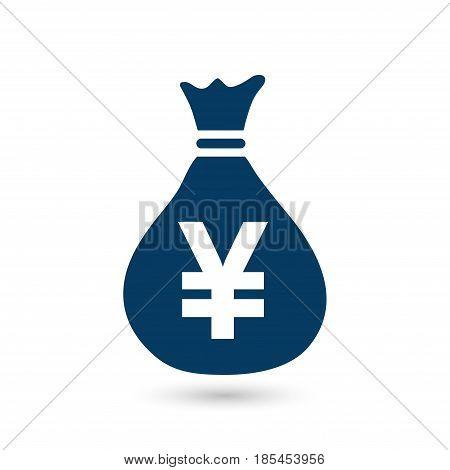 Yen JPY currency speech bubble symbol. Flat design style.