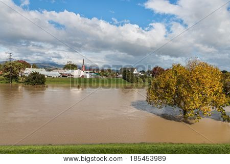 flooding of Taylor river in Blenheim, New Zealand