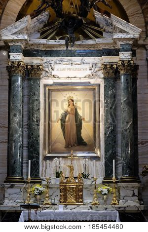 ROME, ITALY - SEPTEMBER 03: Our Lady altarpiece by Domenico Bartolini in Chapel of the Miraculous Madonna, Basilica di Sant Andrea delle Fratte, Rome, Italy on September 03, 2016.