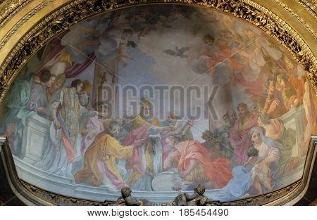 ROME, ITALY - SEPTEMBER 03: Fresco in Basilica of Saint Sylvester the First (San Silvestro in Capite) in Rome, Italy on September 03, 2016.