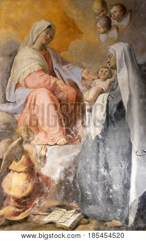 ROME, ITALY - SEPTEMBER 03: The Virgin Appearing to S. Francesca Romana altarpiece in Chapel of St Michael the Archangel, Basilica di Sant Andrea delle Fratte, Rome, Italy on September 03, 2016.