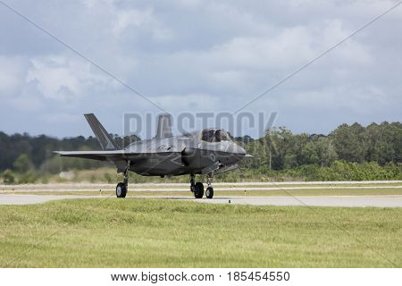 BEAUFORT, SOUTH CAROLINA-APRIL 30, 2017: F-35 Lightning fighter taxis on the runway of the Marine Corp Air Station in Beaufort, South Carolina