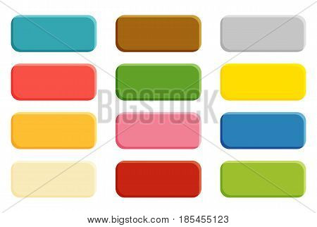 Set of 16 isolated blank buttons with rounded corners colorful 3d illusion