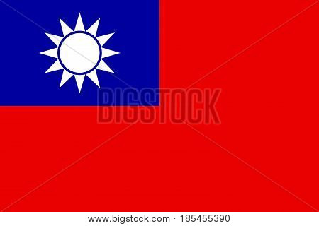 Political symbol Flag of Taiwan vector illustration.