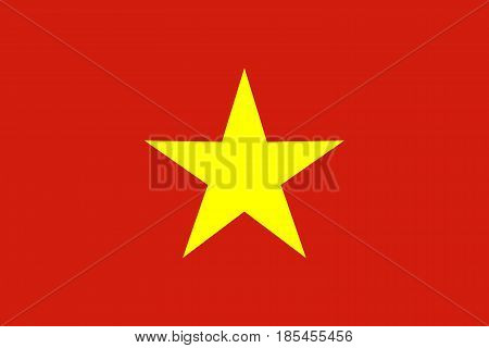 Flag of Vietnam vector illustration. Political symbol