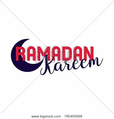 Ramadan kareem lettering in half moon, red and black color, glorious month of islamic culture and religious observance, poster for greeting. Vector illustration