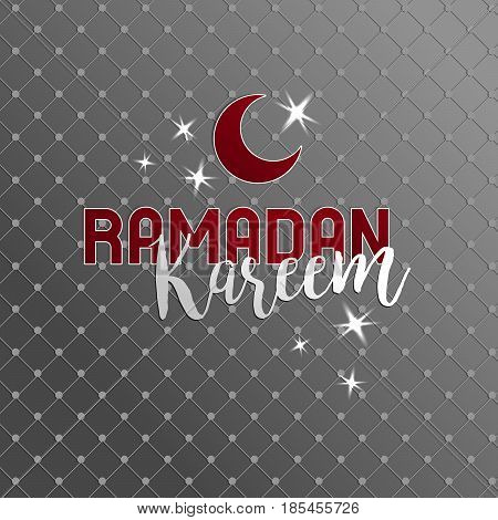 Ramadan kareem lettering, half moon, red and white color, poster for greeting, blessing month for all muslims, rich silver background. Vector illustration