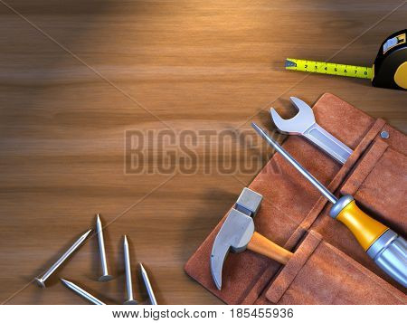 Assorted tools on a wood surface with copy space. 3D illustration.