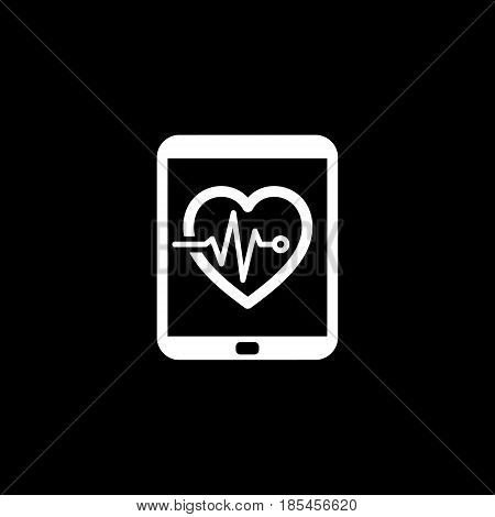 Cardiogram and Medical Services Icon. Flat Design. Isolated