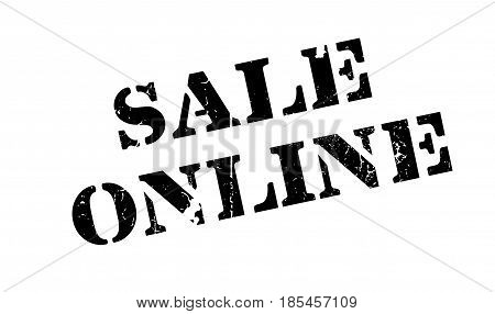Sale Online rubber stamp. Grunge design with dust scratches. Effects can be easily removed for a clean, crisp look. Color is easily changed.