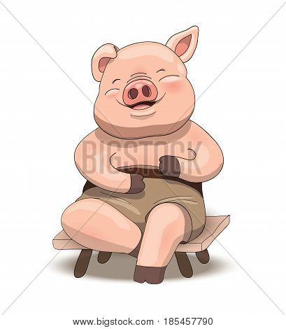 Cute cartoon little pig character sitting and laughing