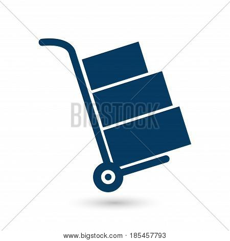 Truck with boxes icon.  Hand truck sign symbol.