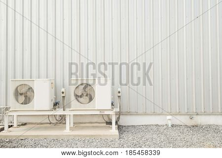 air-conditioner fan and Wall steel metal plate texture background