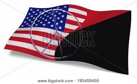 3D illustration. USA flag and an Antifa flag with a peace sign