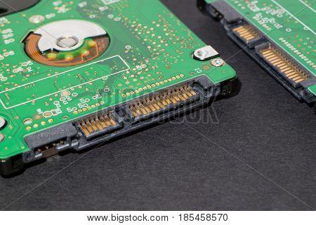 Hard disk drive backside sata controller interface closeup