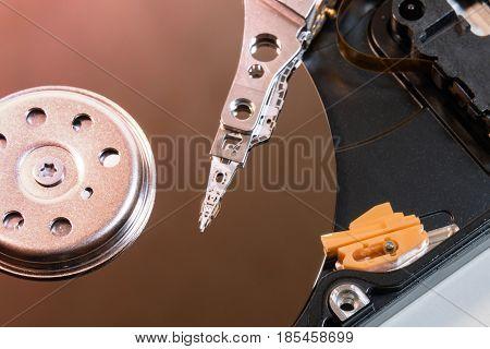 Computer hard disk drive inside internal organization HDD closeup