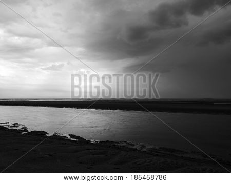 stormy weather with beach and sea in northumbria england