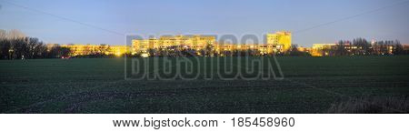 Long Exposure Night Panorama Of Suburban Plattenbau District Of Greifswald, Germany