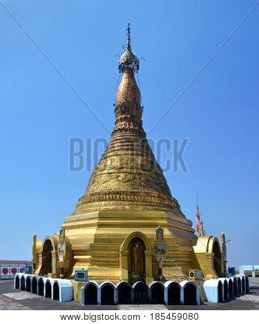 View O The Majestic Golden Stupa On The Top Of Mount Zwegabin, Hpa-an (myanmar)