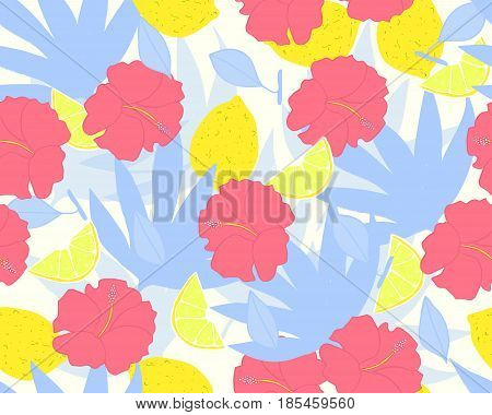 Tropical leaves seamless pattern. Vector hand drawn illustration.