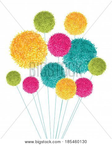 Vector Colorful Pom Poms Bouquet Decorative Element. Great for nursery room, handmade cards, invitations, baby designs. Cute Birthday party decor.