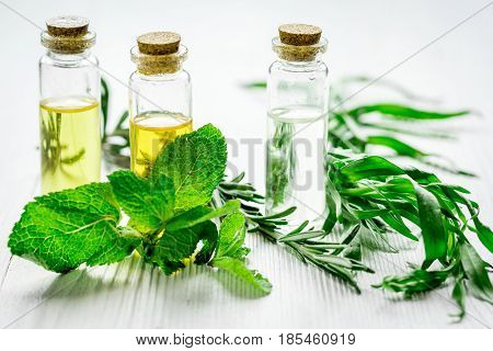 natural cosmetic oil with fresh rosemary and mint for homemade spa on light wooden table background
