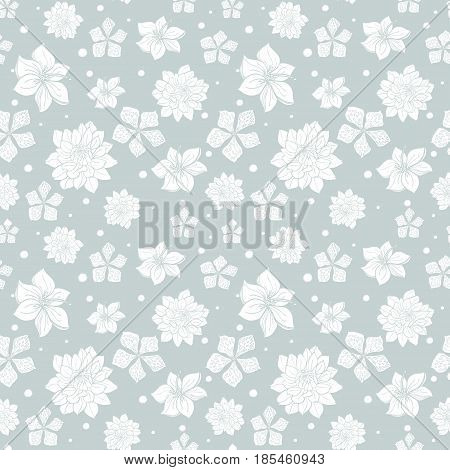 Vector tropical gray white flowers seamless repeat pattern background design. Great for summer party invitations, fabric, wallpaper, giftwrap paper. Surface pattern design.