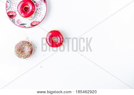 food design with donat set with topping on white table background top view mockup
