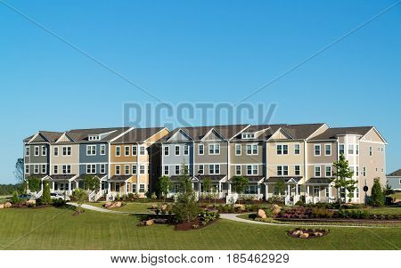 New town homes cluster in suburban subdivision