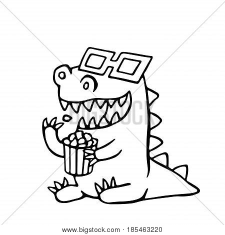 Cartoon dragon in stereo glasses and a box of popcorn. Vector illustration. Funny cute imaginary character.