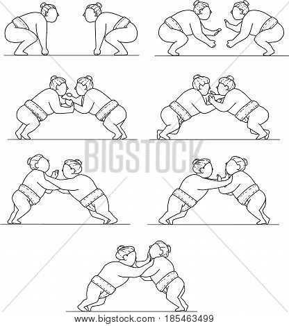 Collection set of illustrations of a Japanese rikishi or wrestlers engaging in a match bout of Sumo or sumo wrestling competitive full-contact wrestling sport viewed in different movements done in mono line style.
