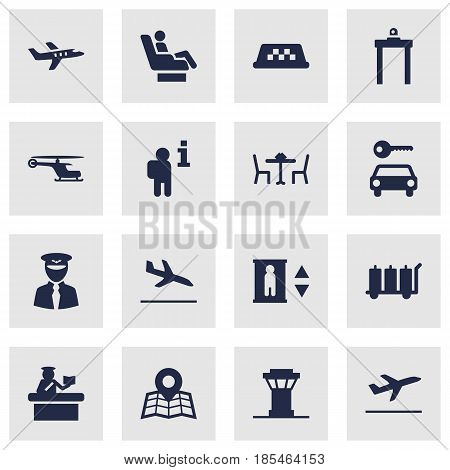 Set Of 16 Aircraft Icons Set.Collection Of Carriage, Location, Air Traffic Controller And Other Elements.