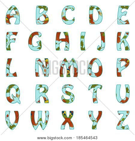 Vector Alphabet with retro floral pattern. Red flowers on blue