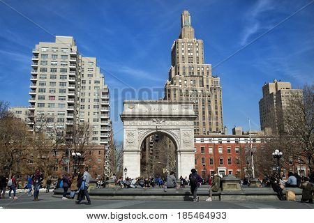 NEW YORK, USA - MARCH 24, 2017:  Washington Square Park is a public park in the Greenwich Village neighborhood of Lower Manhattan, New York City. One of the best known of New York City's.