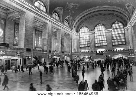NEW YORK, USA - MARCH 24, 2017:  Tourists and locals in Grand central terminal station in new york city, united states