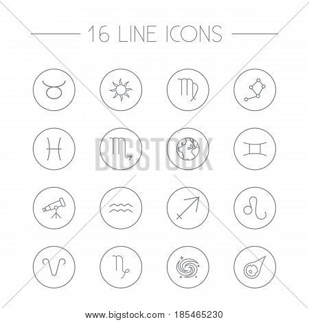 Set Of 16 Horoscope Outline Icons Set.Collection Of Galaxy, Constellation, Sagittarius And Other Elements.