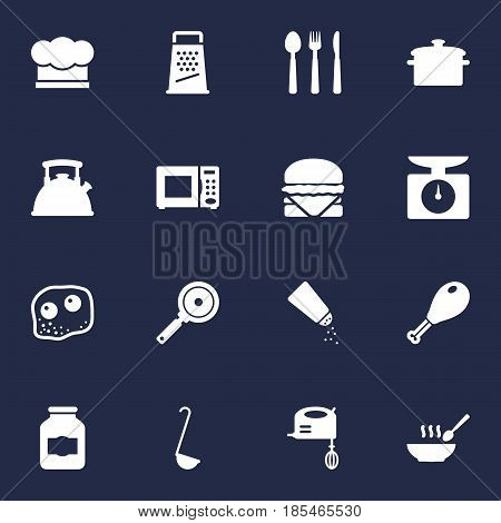 Set Of 16 Cooking Icons Set.Collection Of Weighing Machine, Saucepan, Eggs And Other Elements.
