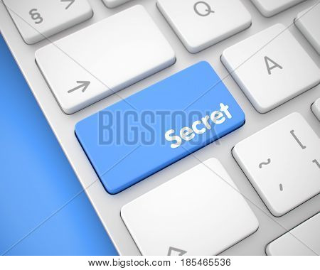 Service Concept: Secret on White Keyboard lying on Blue Background. Online Service Concept with Conceptual Enter Blue Key on Keyboard: Secret. 3D Render.