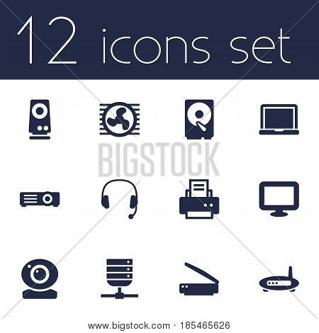 Set Of 12 Laptop Icons Set.Collection Of Amplifier, Laptop, Peripheral And Other Elements.