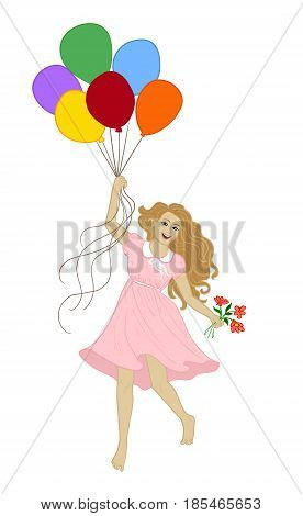 Small girl flying with colorful balloons isolated on white