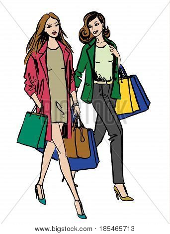 Two women walking with shopping bags isolated on white. Fashion illustration