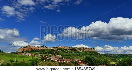 Orvieto old medieval town panorama with clouds in the Italian countryside