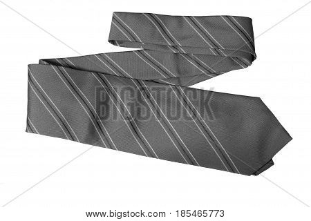 Object Necktie Grey color on white background.