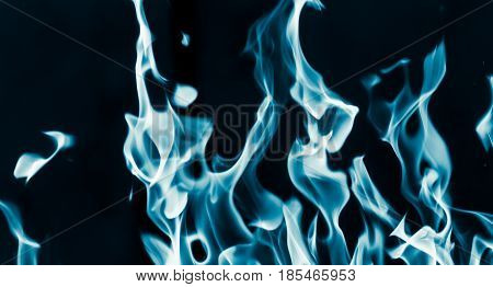 blue flame fire on a black background .