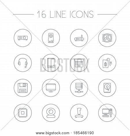 Set Of 16 Notebook Outline Icons Set.Collection Of Cooler, PC, Hdd And Other Elements.