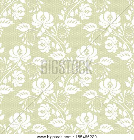 Seamless white and green lace background with floral pattern